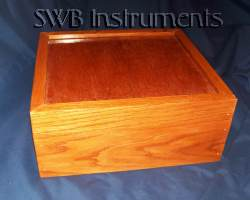 Custom made oak box in poly stain finish.